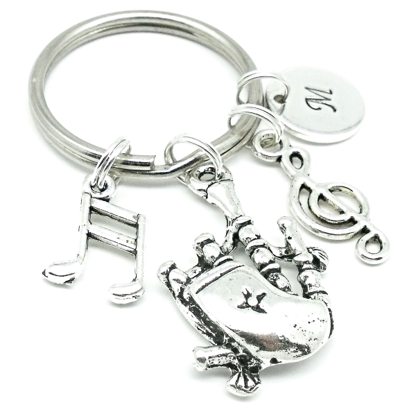 Bagpipes gift keyring personalised initial